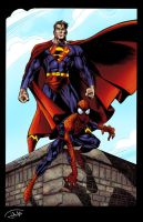 Superman and Spiderman by Jats