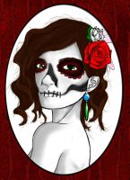 Skull and Flowers Portrait by MachineRule