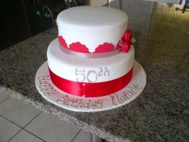 Red .white 50th Cake by Lucrecia1511
