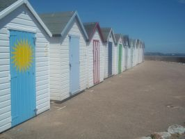 Bright beach sheds by woostersauce