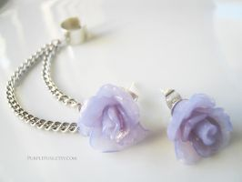 Translucent Lilac Rose Chain Stud Earrings by xxelegantbeautyxx