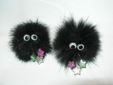 Susuwatari or Soot Sprites hair clips by Nigh-Eve