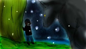 Girl and wolf by sayhe1234