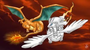 Charizard and Reshiram flying by shadowhatesomochao