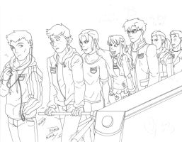 YJ: Colin can't work a turnstile (line art) by BobsCookie