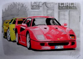 Ferrari F40 and Lamborghini Diablo by EduardoCBS