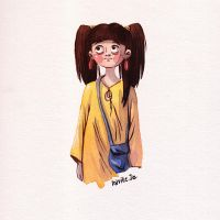 girl watercolor-doodle by Iraville