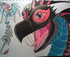 AmericanBlackSerpent and a Fairy Dragon. by AmericanBlackSerpent