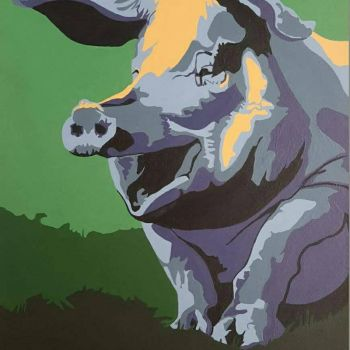 truffles the pig--acrylic by easternconferende