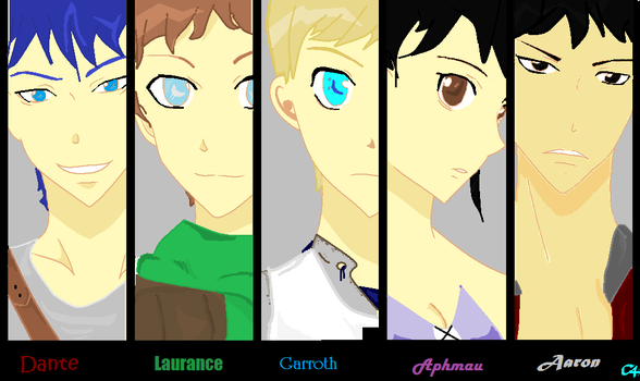 Aphmau, Dante, Garroth, Laurance, and Aaron by waterglorydragoness