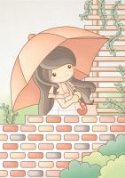 Girl With Umbrella by sweetterara