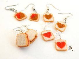 Clay PB and J Heart Sandwich Earrings by AgentRose