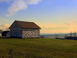 Traditional storage in autumn scenery by patrickjobst