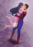 Twilight Sparkle and Peter Parker by Kermad