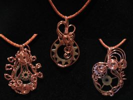 Wire Wraped Gear pendants by Gears-on-a-Wire