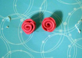 Pink Rose Earrings by Kimmyo801