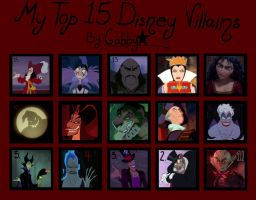 My Top 15 Disney Villains by galacticknight13