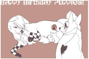 Happy Birthday Puppies by WillowWhiskers