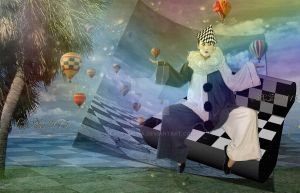 Pierrot and airships by ladyjudina