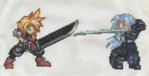 Cloud vs Sephiroth by StitchPlease