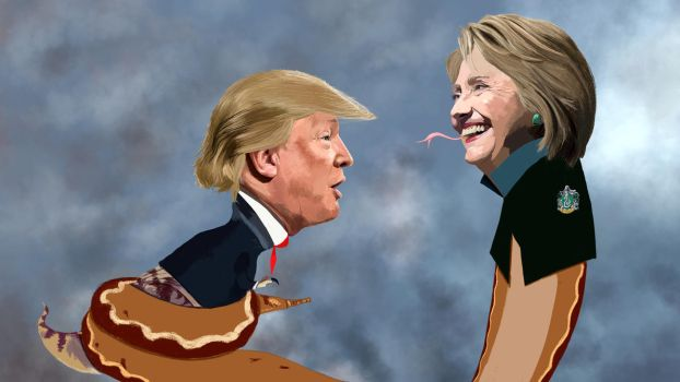 Speed Painting 53: Trump vs Hillary by juliancelaj