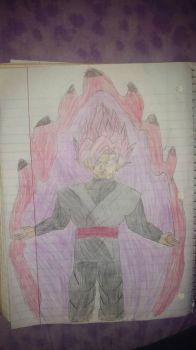 SSJR Goku Black with aura by primeomega97