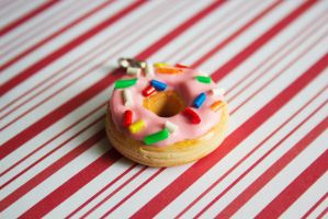 polymer clay pink frosting doughnut with sprinkles by l337Jacqui