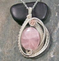 Woven Oval Rose Quartz and Silver Pendant by HeatherJordanJewelry
