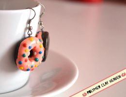 Donut Earrings Polymer Clay by PolymerClayHeaven