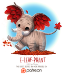 Day 1411. E-leaf-phant by Cryptid-Creations
