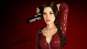 Lara Croft In Red - HD Wallpaper by Rockeeterl