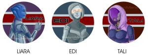 Mass Effect Buttons (Female Version) by RaelynnMarie