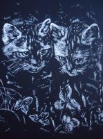 Kittens engraving by Spaik-The-Wolf