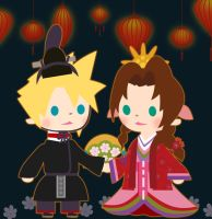 Emperor Cloud and Empress Aerith by Black-Blossom