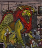 Gryphon musician in a basement bar by animagusurreal