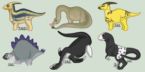 Little Bitty Dinosaurs by sazzy-riza