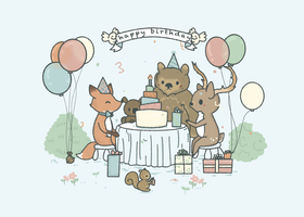Birthday Card Forest Theme by pronouncedyou