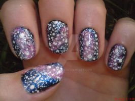 Pink Galaxy Nail Design by AnyRainbow