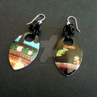 Retro Games Scalemaille Earrings by Rosie-Periannath