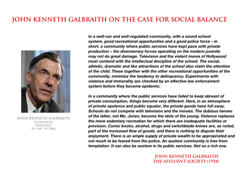John Kenneth Galbraith - case for social balance by YamaLama1986