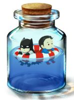 bottle_superman vs batman by koratCF
