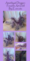 Amethyst Dragon Posable Art Doll by Eviecats