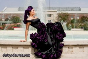 Black and Purple Rose Gown by DaisyViktoria