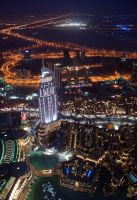 Dubai At Night (Burj Khalifa) by skywalkerdesign