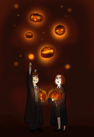 Floating pumpkins by TheFandomWhore