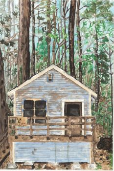 Forest cabin painting by magicalmermaidcat
