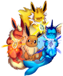1st Gen Eeveelutions by LolliDragon