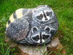 Raccoons painted on stone by MagycaArwen