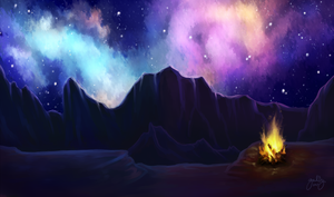Commission: Campfire under stars by aerococonut