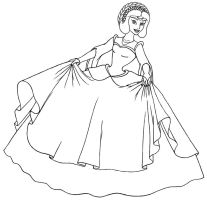 Jasmine ball gown Lineart by OginZ